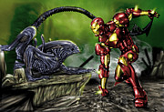 Cartoon Alien Framed Prints - Alien vs Iron Man Framed Print by Pete Tapang