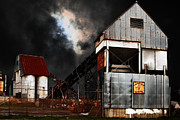 Factories Posters - Alive and Well in America . Nightfall At The Old Industrial Sand Plant in Berkeley California . 7D13 Poster by Wingsdomain Art and Photography