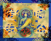 Buddhist Paintings - Alive with Beauty - Blue by Tara Catalano