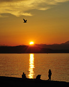 Alki Beach Posters - Alki Beach Sunset Poster by Jack Moskovita
