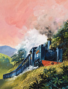 Rail Line Prints - All Aboard for Devils Bridge Print by English School