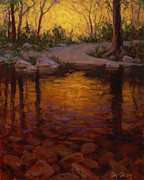 River Scenes Paintings - All Aglow by Cody DeLong