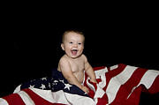 Baby Playing Art Print Prints - All American Boy Print by Malania Hammer