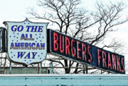 American Food Mixed Media Framed Prints - All American Burgers  Framed Print by adSpice Studios