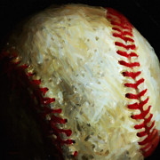 Baseball Glass - All American Pastime - Baseball - Square - Painterly by Wingsdomain Art and Photography