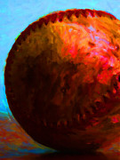 Baseball Digital Art Metal Prints - All American Pastime - Baseball Version 3 - Painterly Metal Print by Wingsdomain Art and Photography