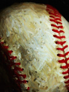 Major League Metal Prints - All American Pastime - Baseball - Vertical Cut - Painterly Metal Print by Wingsdomain Art and Photography