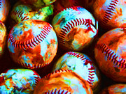 Boston Red Sox Metal Prints - All American Pastime - Pile of Baseballs - Painterly Metal Print by Wingsdomain Art and Photography