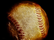 Baseball Digital Art Posters - All American Pastime - The Fastball Poster by Wingsdomain Art and Photography