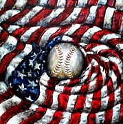 Baseball Painting Metal Prints - All American Metal Print by Shana Rowe