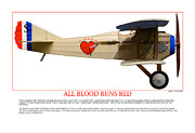 Taliaferro Posters - All Blood Runs Red Poster by Jerry Taliaferro