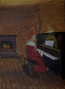 Girl Playing Piano Paintings - All dressed up by Bob Hasbrook