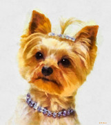 Yorkshire Terrier Watercolor Posters - All Dressed Up Poster by Elizabeth Coats