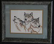 Wolf Tapestries - Textiles - All For One by Janet  Hall