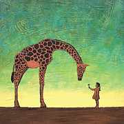Giraffe Paintings - All Gods Children by Marie Bretz