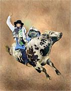 Bull Riding Paintings - All In A Days Work by Lamarr Kramer