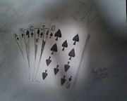 Spades Drawings Posters - All In Poster by Gary Miller