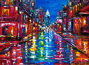 Rainy Street Painting Acrylic Prints - All Night Long Acrylic Print by Debra Hurd