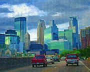 Minneapolis Skyline Posters - All Roads Lead to Minneapolis Poster by Tom Reynen