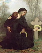 Cross On The Grave Framed Prints - All Saints Day Framed Print by William Adolphe Bouguereau