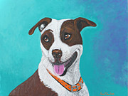 Staffordshire Bull Terrier Paintings - All Smilles by Ania M Milo