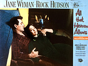 1950s Movies Framed Prints - All That Heaven Allows, Rock Hudson Framed Print by Everett