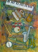 Trombone Painting Originals - All That Jazz by Karen Merry