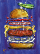 Hamburger Posters - All the fixings Poster by Russell Pierce