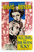 Postv Framed Prints - All This And Heaven Too, Bette Davis Framed Print by Everett