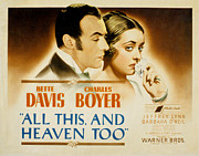 Lobbycard Photo Framed Prints - All This And Heaven Too, Charles Boyer Framed Print by Everett