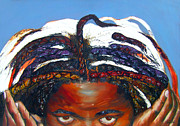 African Art Portrait Paintings - All those dirty unknown fingers tryin to touch my hair by Angie Redmond