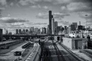 Black And White Photos Framed Prints - All Tracks Lead to Chicago Framed Print by Sheryl Thomas