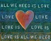 Beatles Mixed Media Originals - All We Need is Love 1 by Gerry High