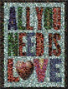 Beatles Mixed Media Framed Prints - All You Need IS Love Mosaic Framed Print by Paul Van Scott