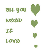 Positive Attitude Digital Art Metal Prints - All you Need is Love - Sage Green Metal Print by Nomad Art And  Design