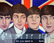 The Beatles With Bristish Flag Framed Prints - All You Need is Love  Framed Print by Tom Roderick