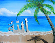 Allah Paintings - Allahs Name on the Beach by Felicity LeFevre