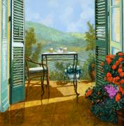 Chairs Framed Prints - Alle Dieci Del Mattino Framed Print by Guido Borelli