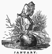 1835 Posters - Allegory: January, 1835 Poster by Granger