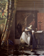 Tapestry Framed Prints - Allegory of the Faith Framed Print by Jan Vermeer