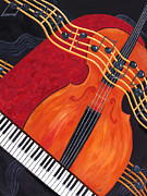 Piano Keys Painting Originals - Allegro by Karen Zuk Rosenblatt