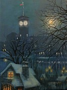 Snow Scene Paintings - Allen Bradley Clock Milwaukee by Tom Shropshire