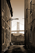 Alley And Bridge Print by Carlos Caetano