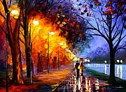 Park Prints - Alley By The Lake Print by Leonid Afremov