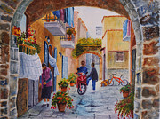 Chatting Painting Originals - Alley Chat by Karen Fleschler