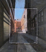 Architecture Mixed Media Originals - Alley Front Street layered by Anita Burgermeister
