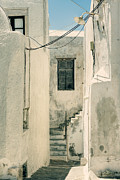 Street Lamp Posters - alley in Greece Poster by Joana Kruse
