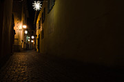 Night Lamp Framed Prints - Alley in night with lights Framed Print by Mats Silvan