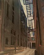 Cityscape Mixed Media Originals - Alley Series 5 by Anita Burgermeister