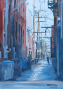 Rain Painting Framed Prints - Alley Shortcut Framed Print by Jenny Armitage